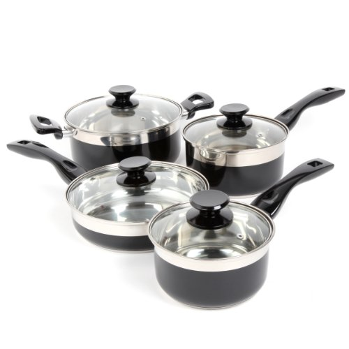 Oster 91335.08 Cramerton 8-Piece Cookware Set, Black