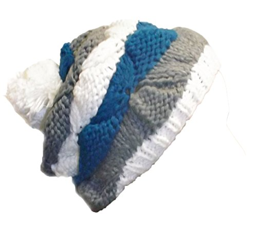 Peach Couture New Hand Knit Striped Cozy Warm Cable Knit Winter Crochet Cap Snowboarding Ski Hat Beret (Blue) - image 1 of 1