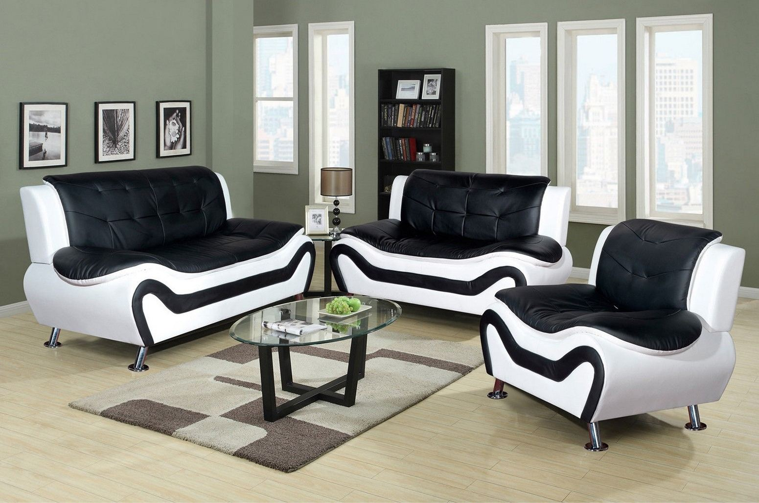 3 piece living room furniture set lounge furniture piece faux leather contemporary living room sofa love seat chair set black 3piece sets