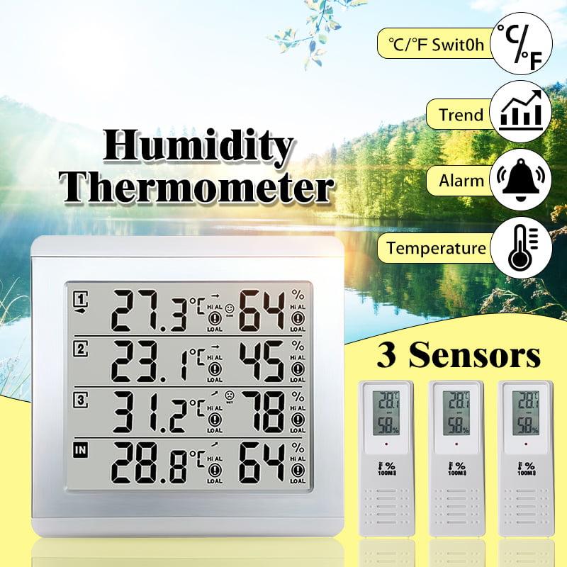 Wireless Digital Alarm Thermometer 3 Sensors Indoor Outdoor Audible Indicator