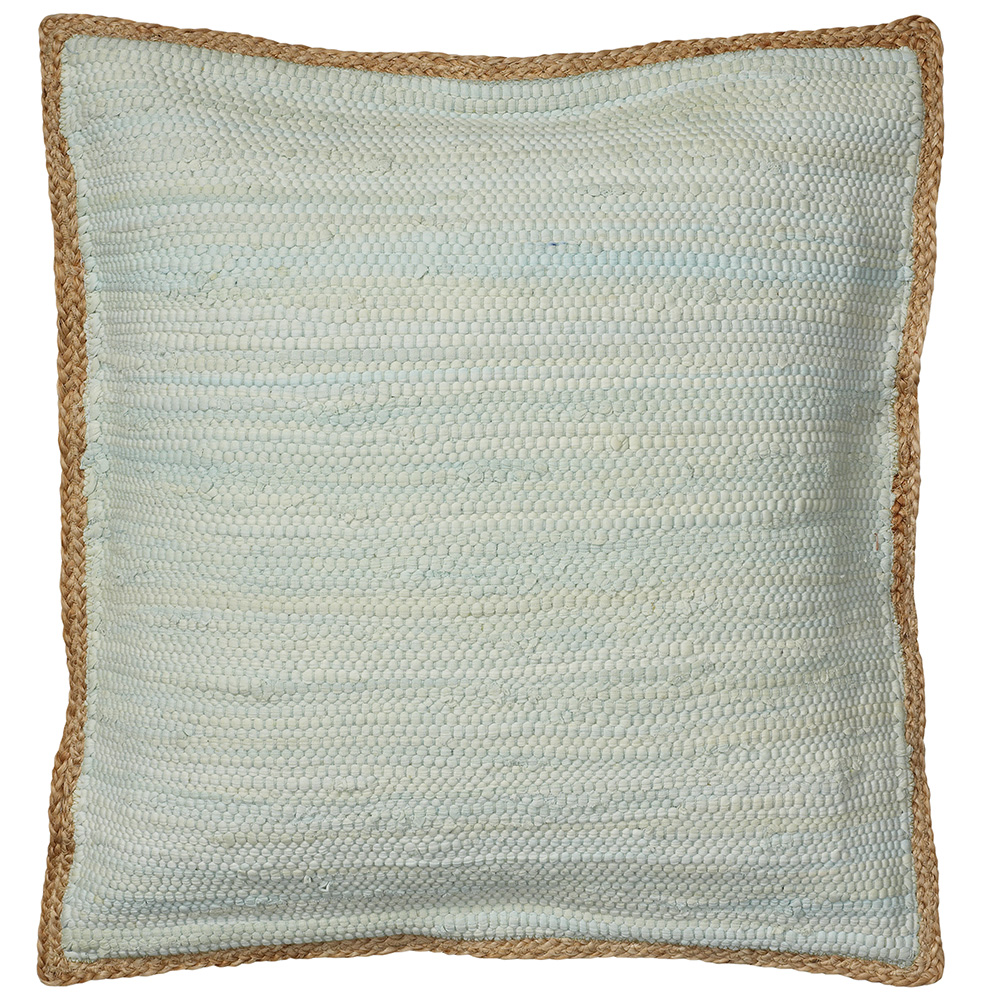 "LR Home Solid Light Blue with Jute Border 20"" x 20"" Indoor Square Woven Riley Wild Yonder Throw Pillow"