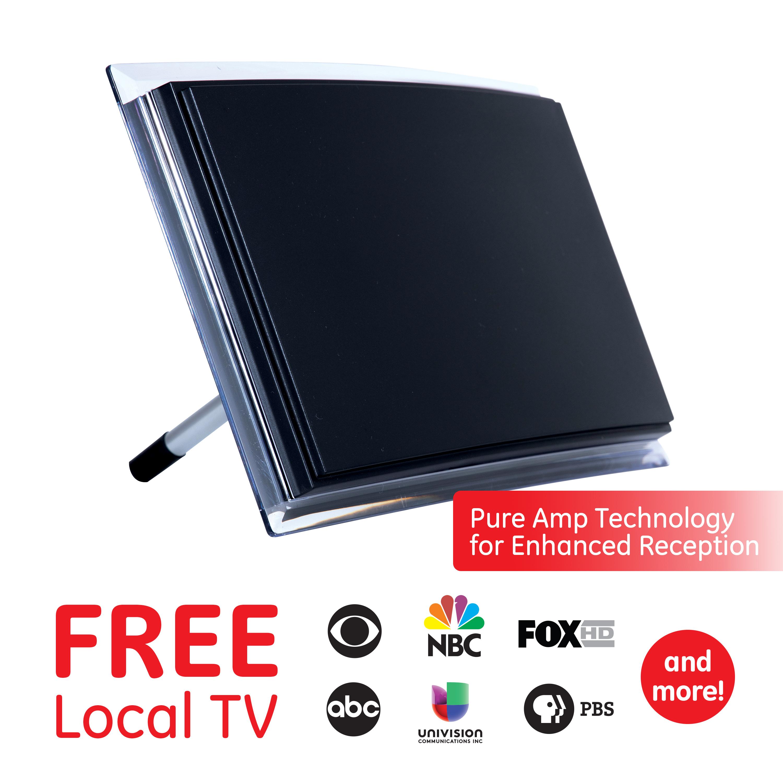 Signal Booster 40 Mile Range 10621 4K 1080P VHF UHF Amplifier Smart TV Compatible Home Decor UltraPro Ultra Edge Indoor TV Antenna HDTV Antenna Digital