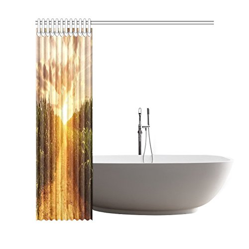 GCKG Corn Field Shower Curtain, Autumn Skyline Polyester Fabric Shower Curtain Bathroom Sets with Hooks 66x72 Inches - image 2 of 3