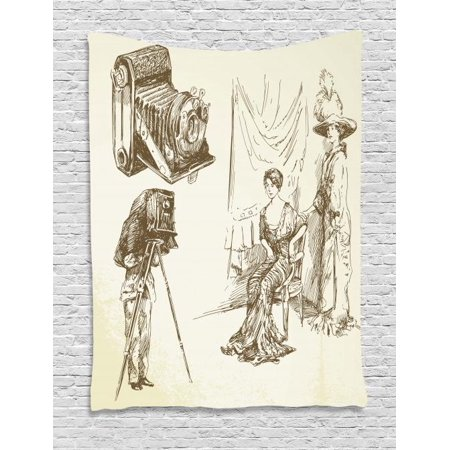 Vintage Woman Tapestry, Two Women Posing in Front of a Nostalgic Camera for Taking Photographs, Wall Hanging for Bedroom Living Room Dorm Decor, 60W X 80L Inches, Beige and Sepia, by Ambesonne