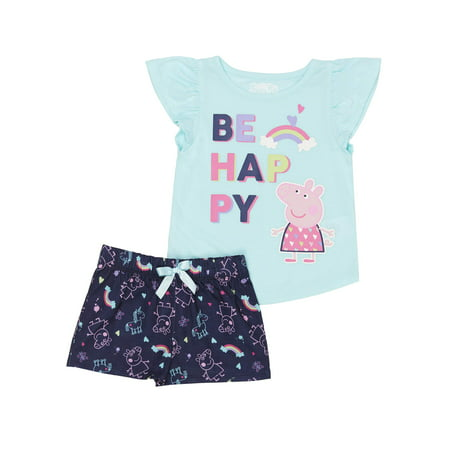 Peppa Pig Ruffle sleeve top & shorts, 2pc pajama short set (toddler girls) - Fancy Girls Pajamas