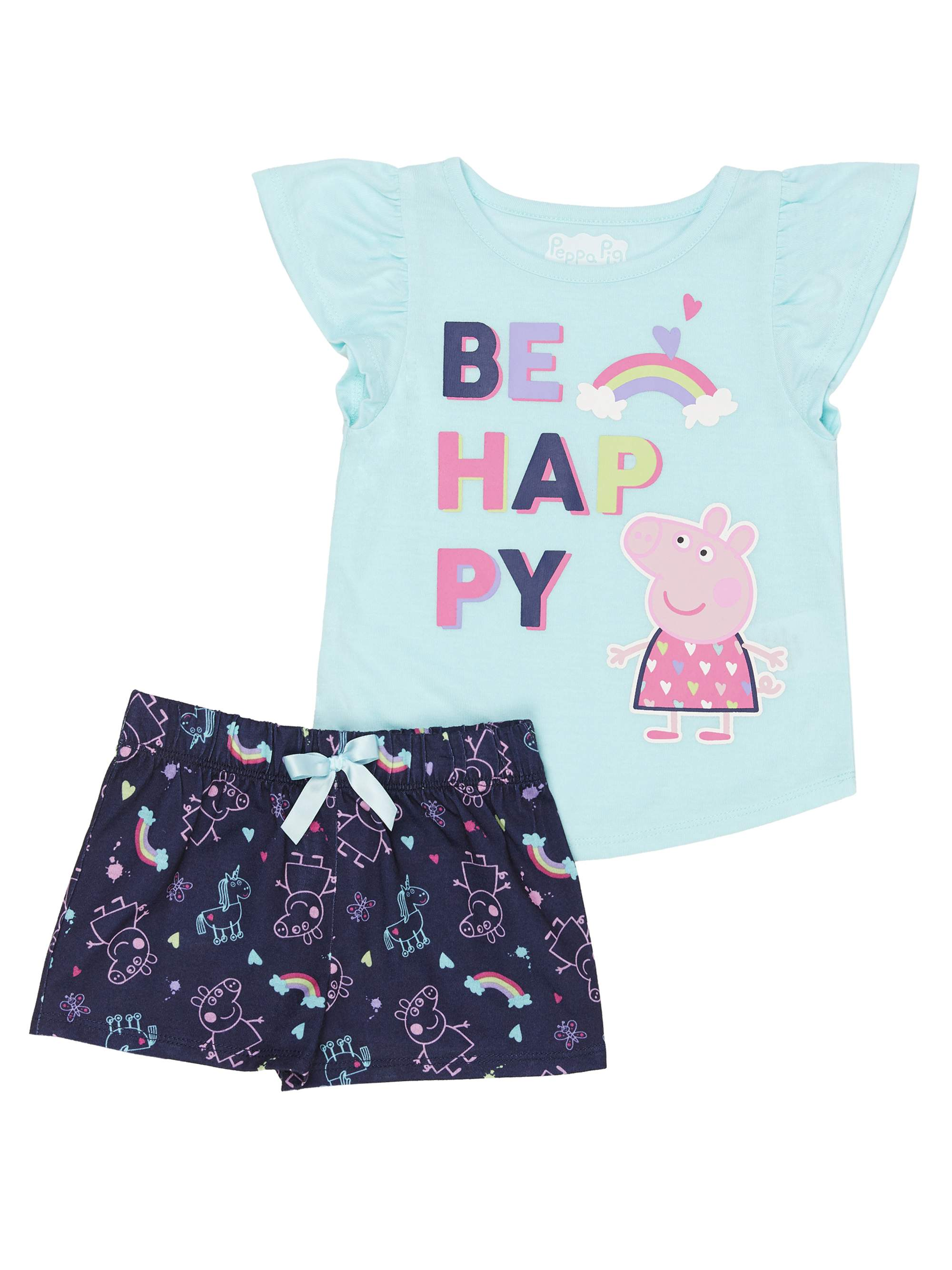 Ruffle Sleeve Top & Shorts, 2pc Pajama Short Set (Toddler Girls)