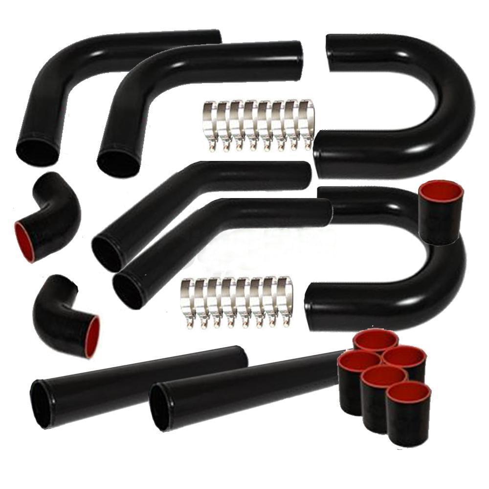 "Ktaxon Universal 3"" Inch Aluminum Intercooler Piping U-Pipe Kit+Coupler Black+T-Bolt"