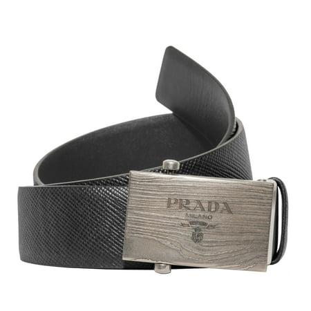 dbd877d4a5c0 Prada Box Frame Engraved Buckle Saffiano Reversible Leather Belt -  Walmart.com