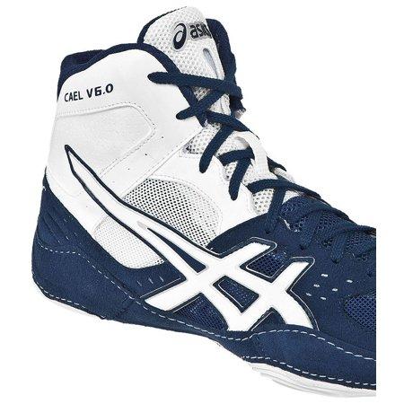 - ASICS Men's Cael V6.0 Wrestling Shoe (Navy/White, 8.5)