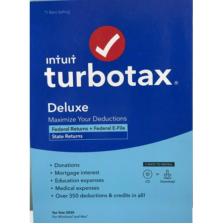 TurboTax Deluxe 2020 Fed + Efile + State (PC/MAC Disc)