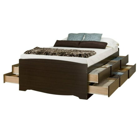 Bowery Hill Tall Queen Platform Storage Bed with Drawer in Black