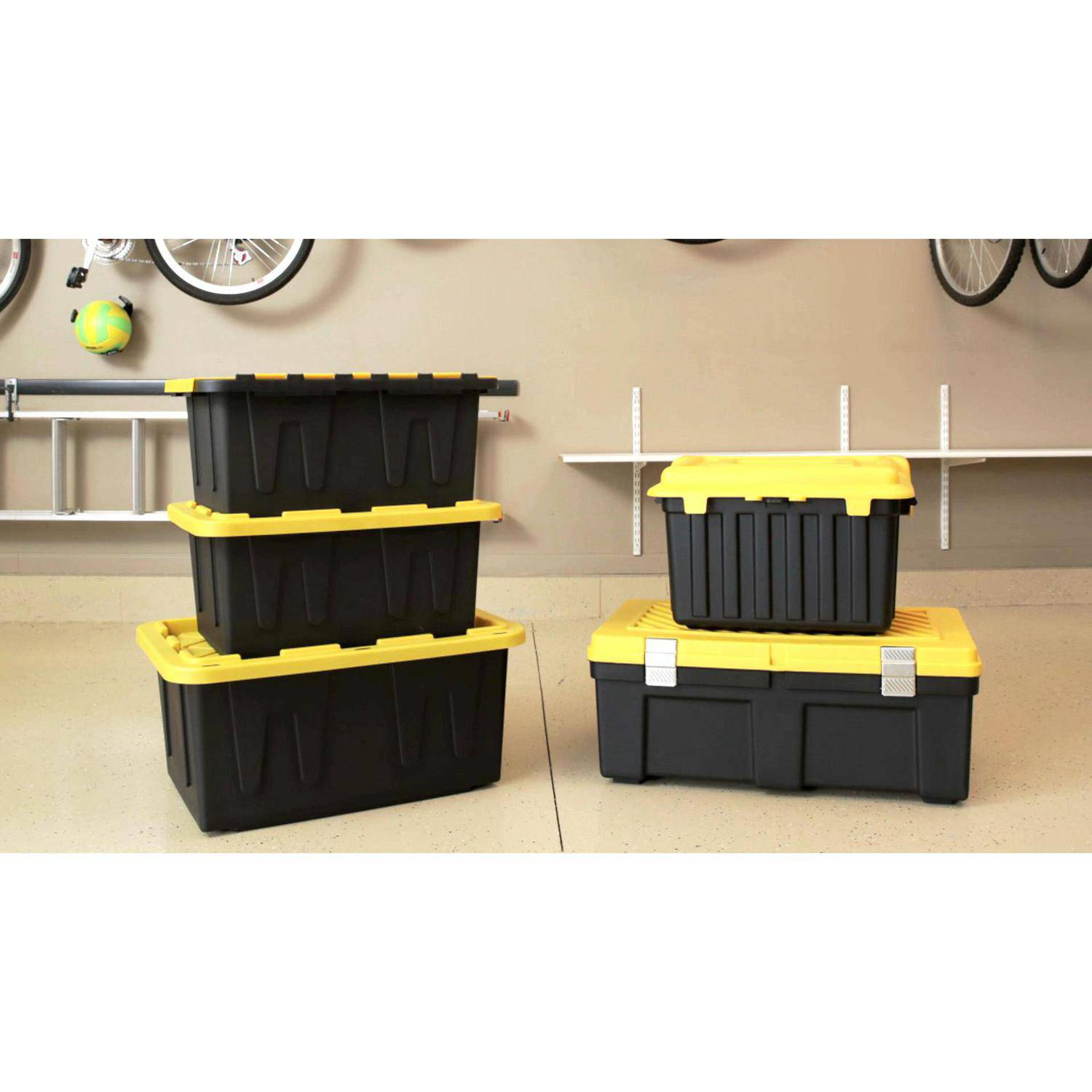 Storage Bins 15 Gallon Tough Tote 6 X Plastic Boxes Home Warehouse  Black/Yellow