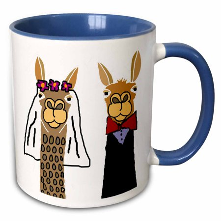 3dRose Funny Cute Llama Bride and Groom Wedding Art - Two Tone Blue Mug, - Funny Wedding Koozies