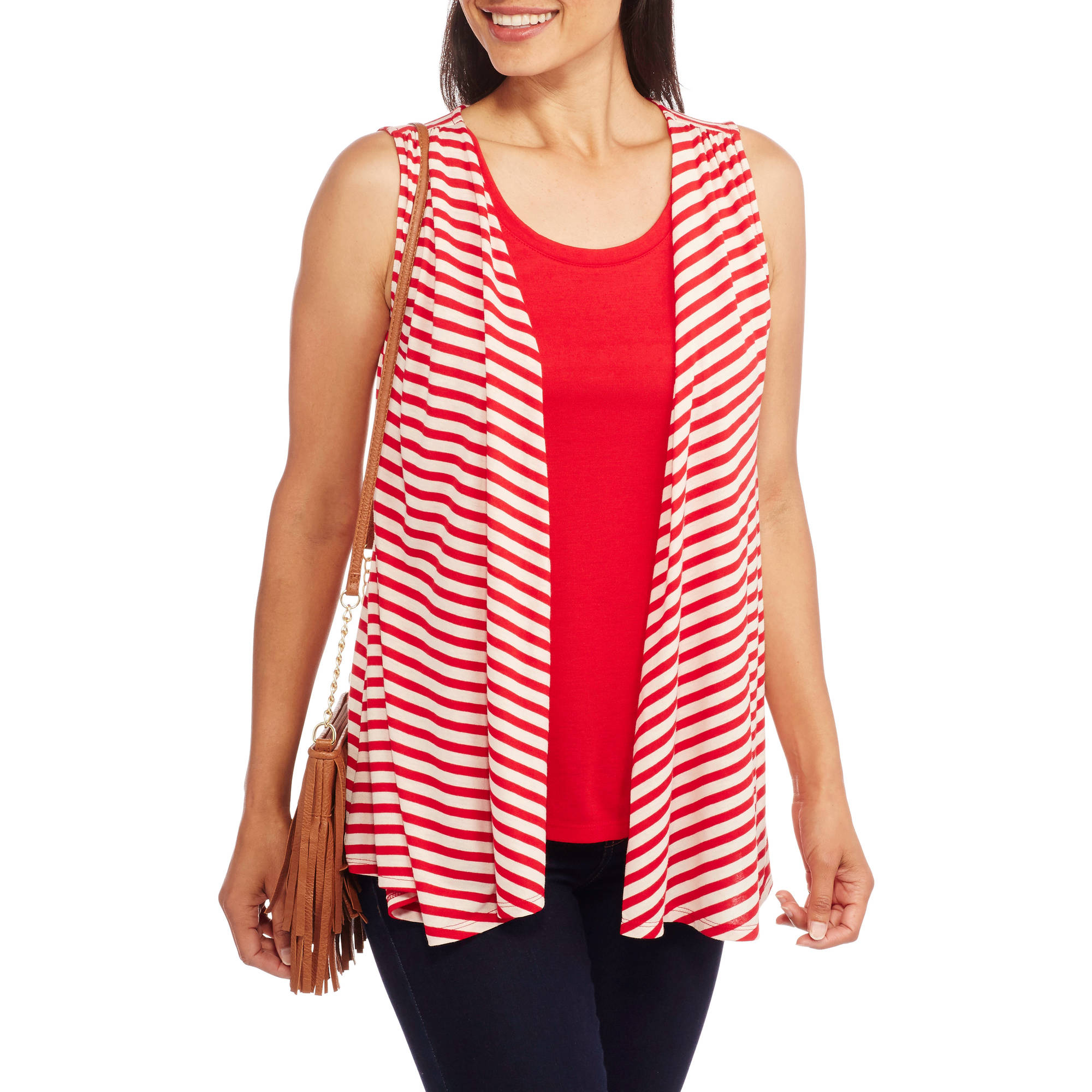 Faded Glory Women's Flyaway Cardigan 2fer Tank Top