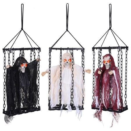Halloween In The Usa (Yescom 3 Pcs Hanging Ghost Caged Halloween Decoration Floating Prop Decor Animated Shaking Scary Sound)