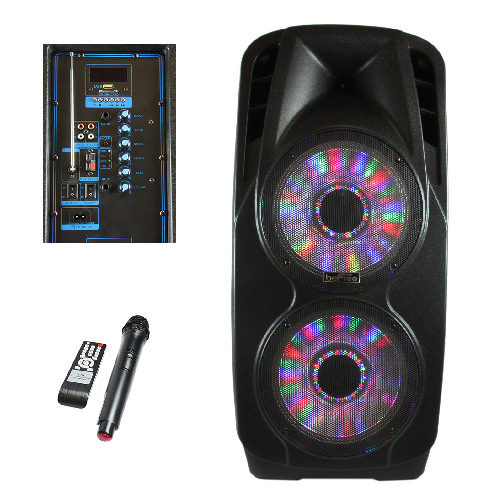 beFree Sound 2x's 12 Inch Woofer Portable Bluetooth Powered PA Tailgate Party Speaker