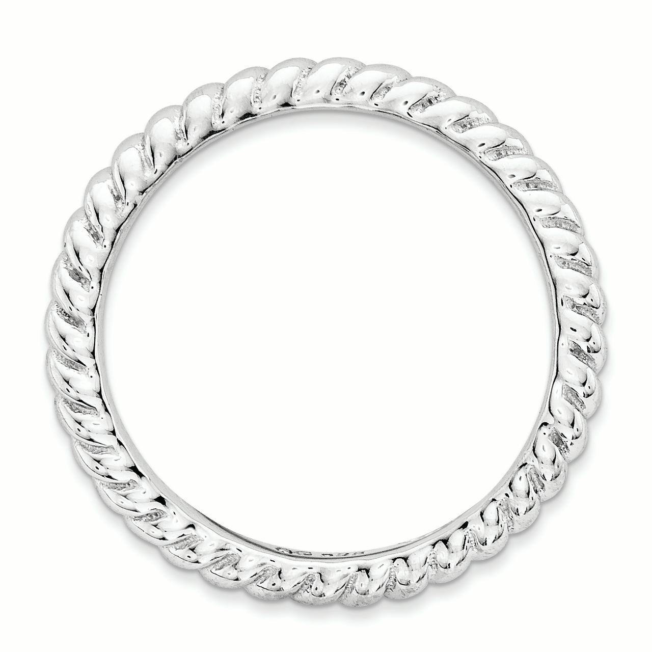 Sterling Silver Stackable Expressions Polished Rhodium-plate Wave Ring Size 9 - image 3 de 3