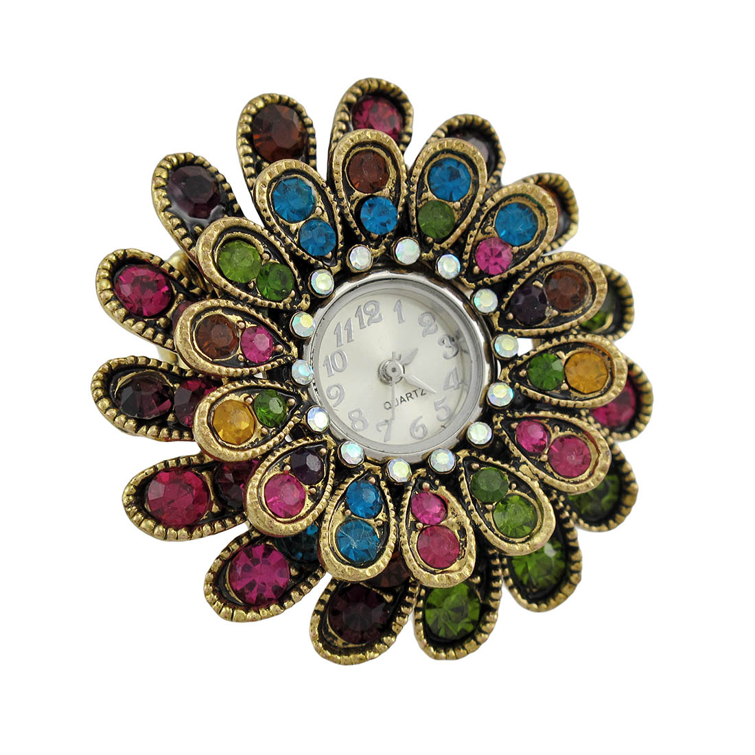 Jewel Tone Rhinestone Flower Stretch Ring Watch
