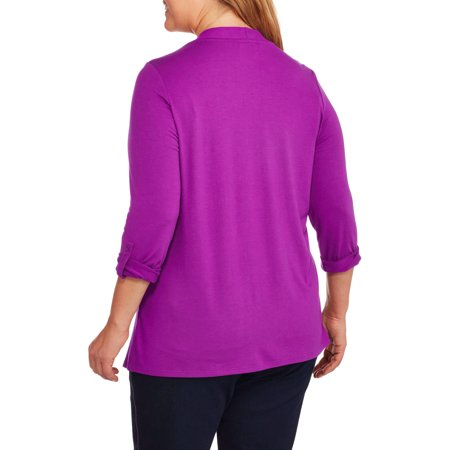 Concepts Women's Plus Open Knit Flyaway Cardigan