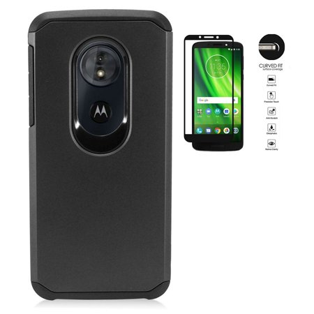 Black Hard Case Screen (Phone Case for Motorola moto g play (6th Gen) Case, Motorola Moto G6 Play, Motorola Moto G6 Forge, Hybrid Shockproof Slim Hard Cover Protective Case + Tempered Glass Screen Protector (Black) )
