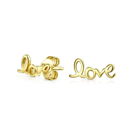 Love Word Script Cursive Expressions Stud Earrings For Women For Girlfriend 14K Gold Plated 925 Sterling Silver - image 3 de 3