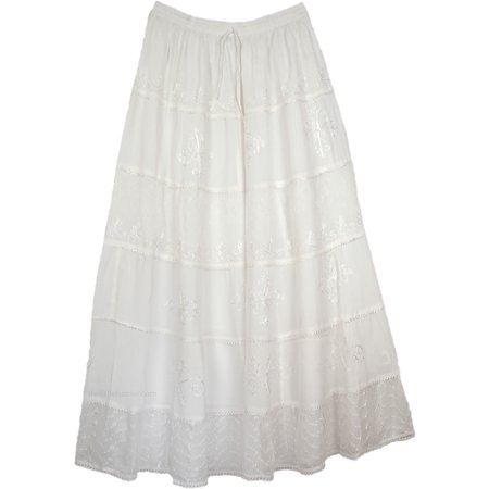 Long White Rayon Maxi Skirt Embroidered (Butterfly Embroidered Skirt)