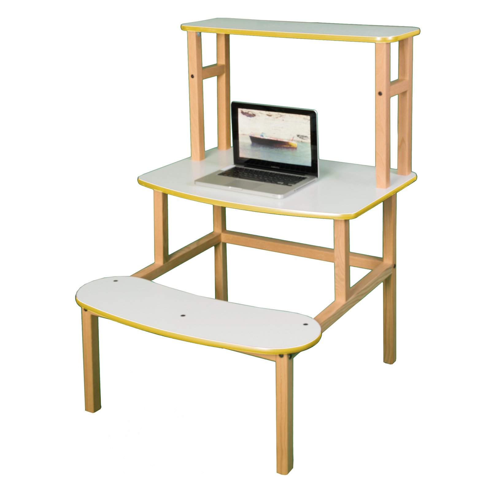 Wild Zoo Student Desk with Optional Hutch - White