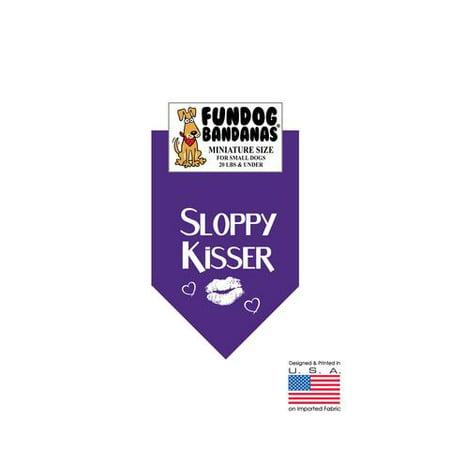 MINI Fun Dog Bandana - SLOPPY KISSER - Taille miniature pour petits chiens de moins de 20 lbs, écharpe animal violet