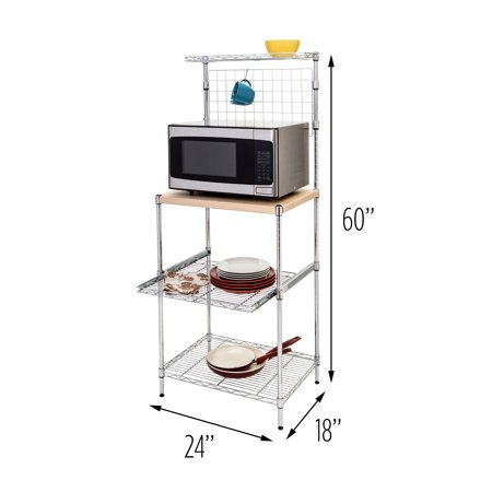 Honey Can Do Baker's Rack with Storage and Wood Cutting Board, Chrome