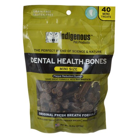 Indigenous Dental Health Bones - Original Fresh Breath Formula 40 Mini Treats - Pack of 12