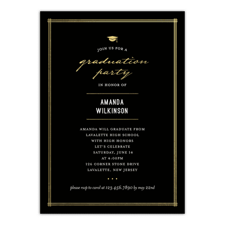 Elegant Grad Graduation Invitation (Black And White Party Invitations)