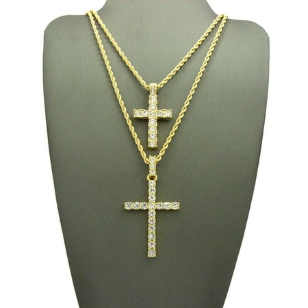 "Round Stone Stud Cross & Slim Stone Stud Cross Pendant Set with Gold-Tone Chain Necklaces - 20""/24"" Rope"