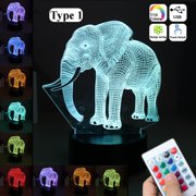 Elephant LED Night Lights Lamp Acrylic 16 Color Changing Remote Control Touch Switch Christmas Children's Day Gifts
