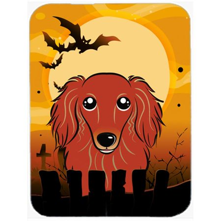 Halloween Longhair Red Dachshund Mouse Pad, Hot Pad & - Dachshund Halloween Hot Dog