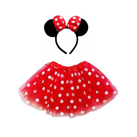 So Sydney Kids Teen Adult Plus 2Pc Minnie Tutu Skirt, Ears, Tail Headband Costume Halloween Outfit - Mouse Costume For Child