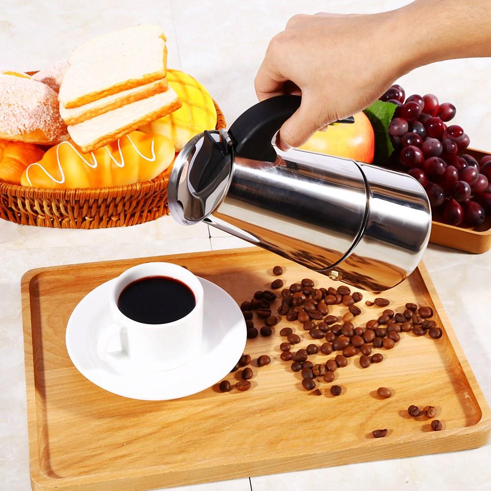 HERCHR 100ml/200ml/300ml/450ml Stainless Steel Moka Pot Espresso Coffee Maker Stove Home Office Use, Stainless Steel Coffee Maker, Moka Pot, Coffee Maker