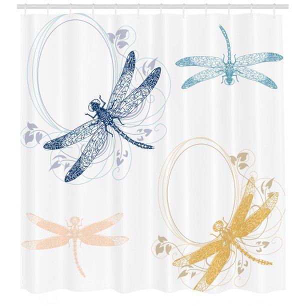 Dragonfly Shower Curtain, Floral Spring Bugs Wings with ...