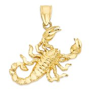 10k Gold Large Scorpion Pendant, Scorpio Jewelry