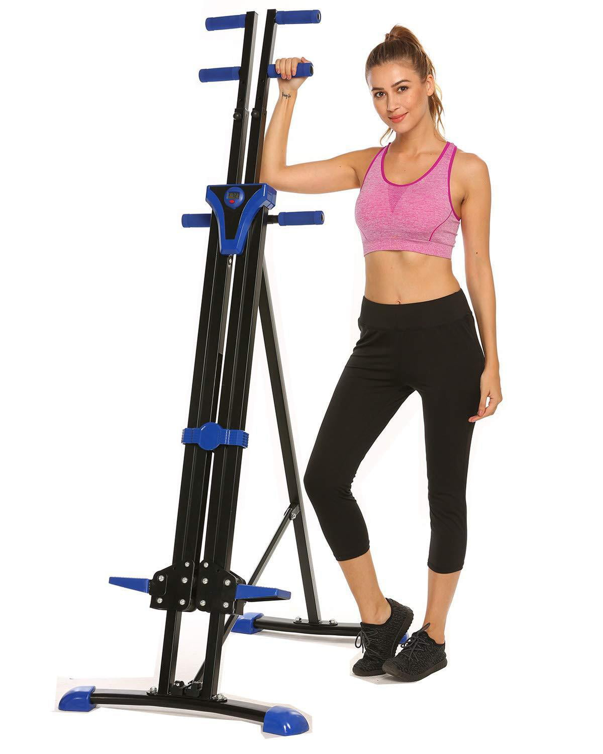 Vertical Climber Folding Stepper Adjustable Height with LED Display Climbing Fit