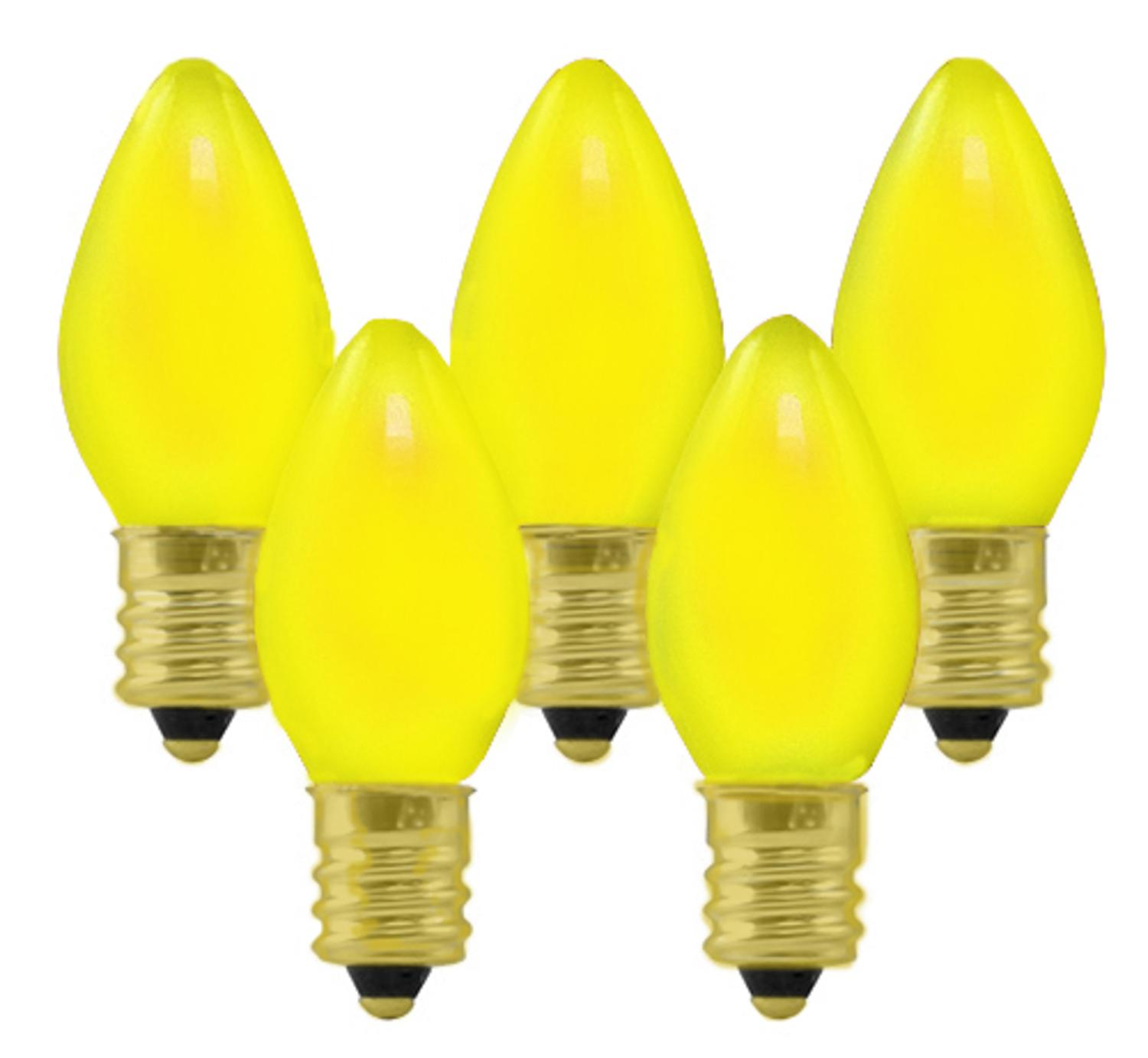 Club Pack of 100 C7 Ceramic Yellow Replacement Christmas Light Bulbs