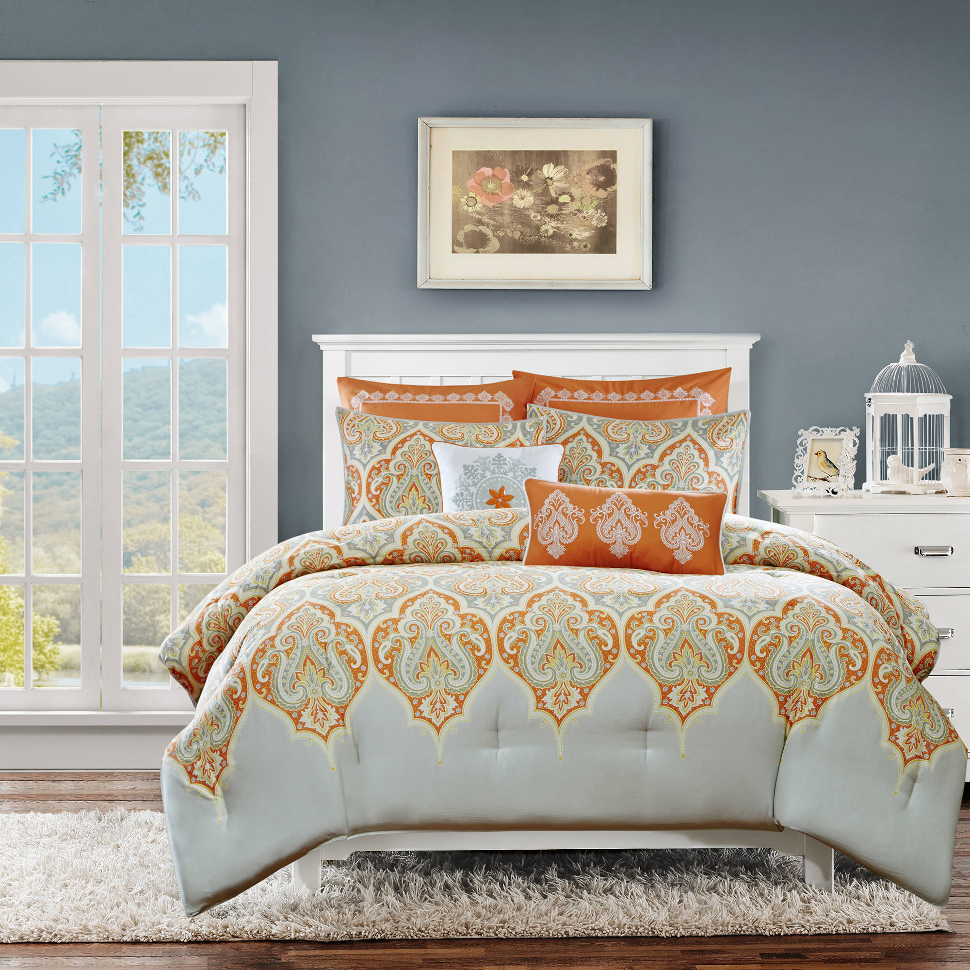 abcb ip cotton home king orange sateen com bedding essence naomi sets comforter set walmart