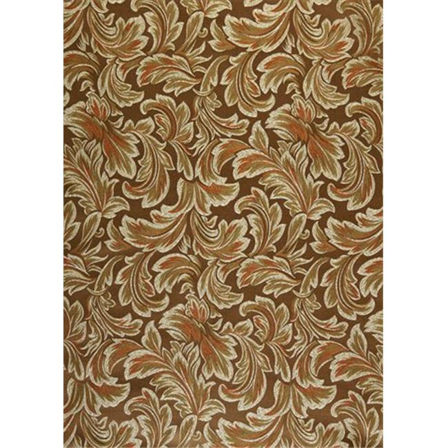 Designer Fabrics F577 54 inch Wide Brown, Bronze, Green And Ivory, Floral Leaf Damask Upholstery And Drapery Grade Fabric