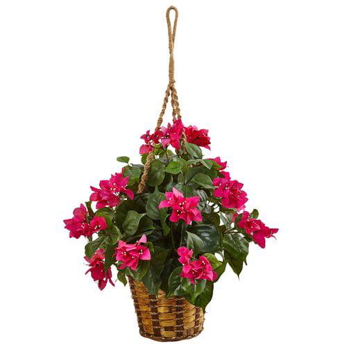 Bloomsbury Market Artificial Bougainvillea Flower Plant Hanging Plant in Basket