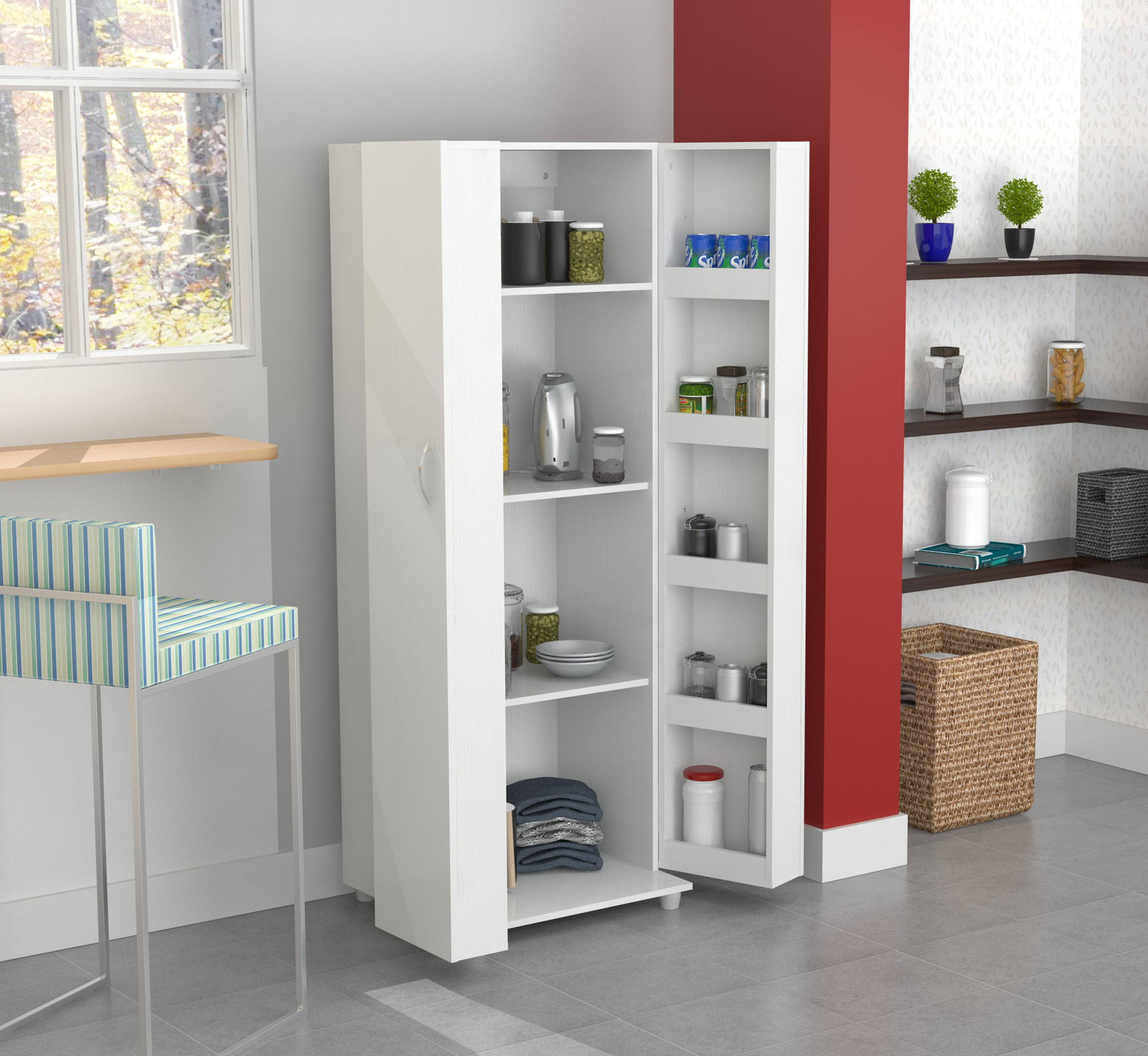 Inval Modern Laricina White Kitchen Storage Pantry Walmart Com