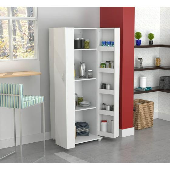 Kitchen Pantry At Walmart: Inval Modern Laricina-white Kitchen Storage Pantry