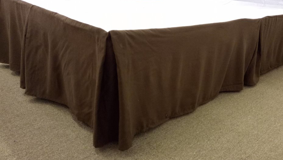 Qutain Linen Tailored Bedskirt Dust Ruffle Solid Chocolate Brown Queen Size by
