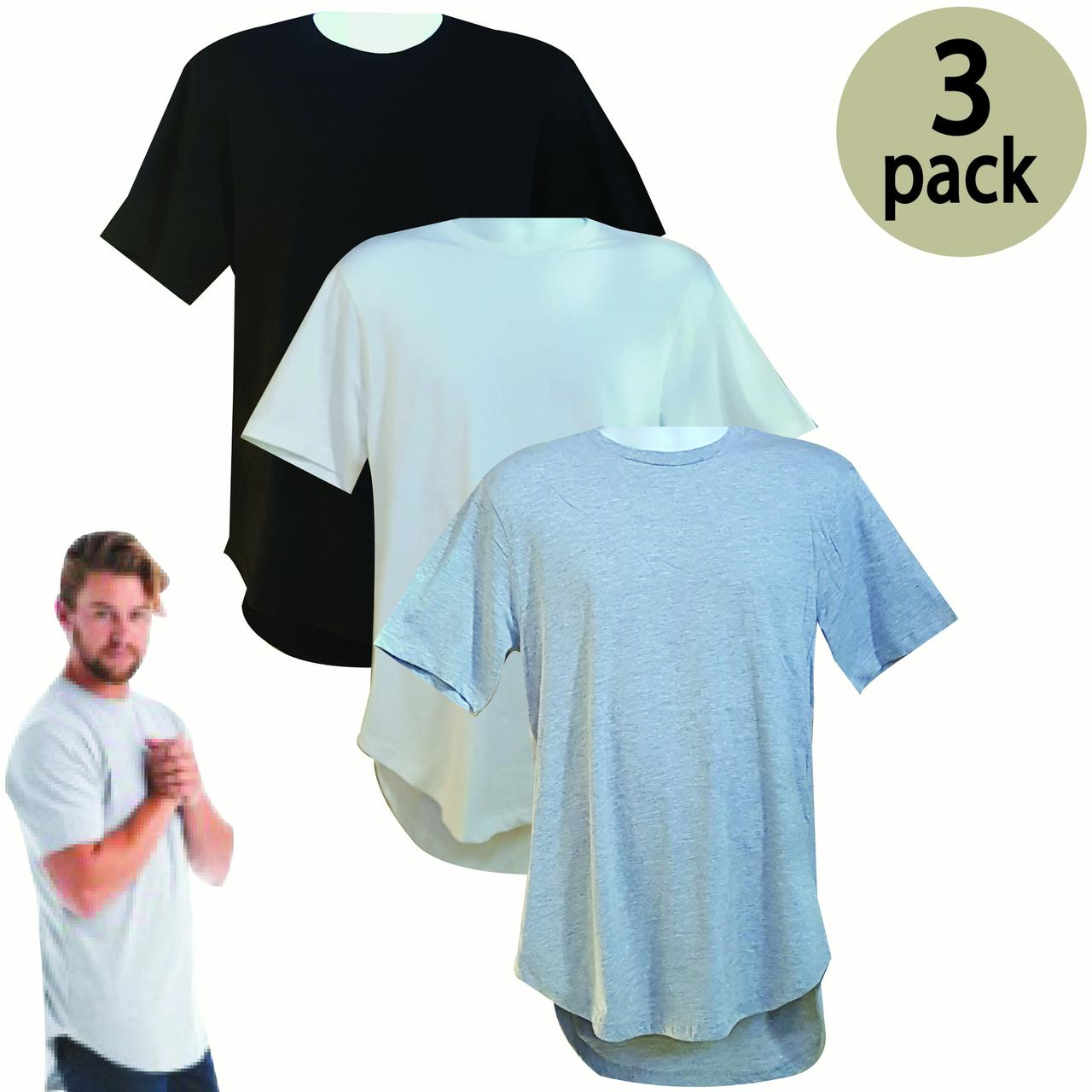 VALUE PACK  > BUY 2 GET 1 FREE > 3 PACK > LANE7 BRAND > Men's Sporty Round  Bottom T-Shirt  (S-2XL) $10 S/H is on the 1st Pack only. In this Pack: (S)(1VintageBlack/1White/1SportGrey)