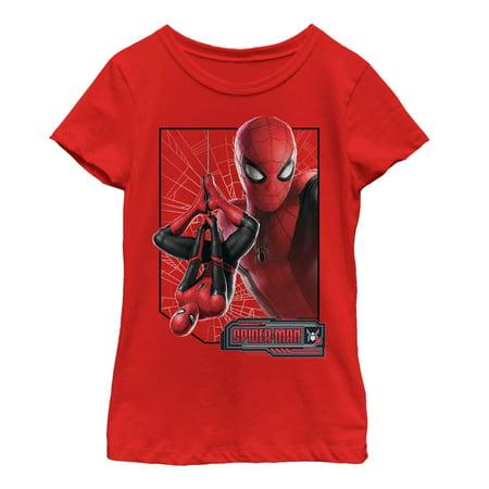 Web Red Shirt - Marvel Girls' Spider-Man: Far From Home Web Frame T-Shirt