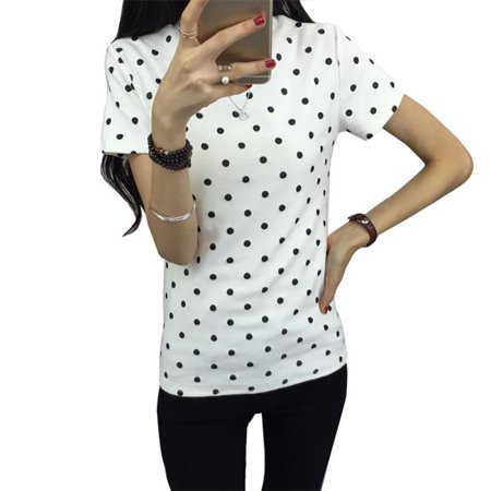 EFINNY Women's Summer Polka Dot Short Sleeve O-neck T-Shirt Blouse -