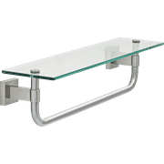 "Maxted 18"" Glass Shelf with Towel Bar in Satin Nickel"